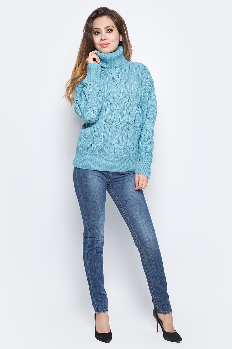 Джемпер женский Baon, цвет: голубой. B137570_Apatite. Размер XL (50) кардиган женский baon цвет черный b147505 black размер xl 50