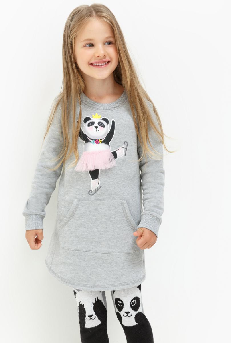 Платье для девочки Acoola Rumba, цвет: серый. 20220200205. Размер 10420220200205Платье для девочки Acoola выполнено из качественного материала. Модель с круглым вырезом горловины и длинными рукавами. Изделие спереди дополнено карманом кенгуру.