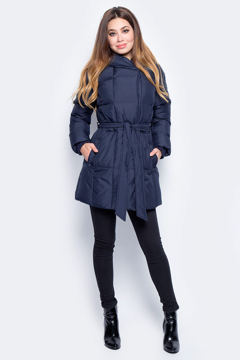 Пуховик женский Baon, цвет: синий. B007516_Dark Navy. Размер XL (50) джемпер женский baon цвет серый меланж b166521 размер xl 50