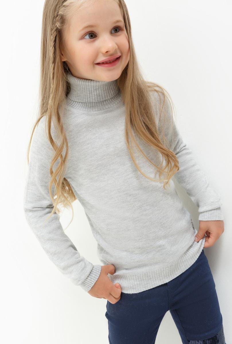 Свитер для девочки Acoola Iceland, цвет: серый. 20220320023. Размер 12820220320023Свитер для девочки Acoola выполнен из качественного материала. Модель с воротником гольф и длинными рукавами.