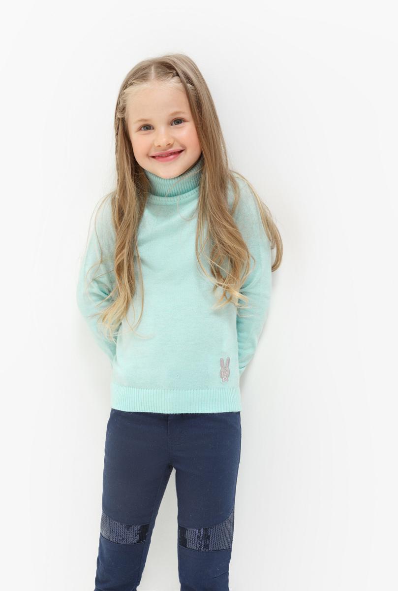 Свитер для девочки Acoola Iceland, цвет: бирюзовый. 20220320023. Размер 12220220320023Свитер для девочки Acoola выполнен из качественного материала. Модель с воротником гольф и длинными рукавами.