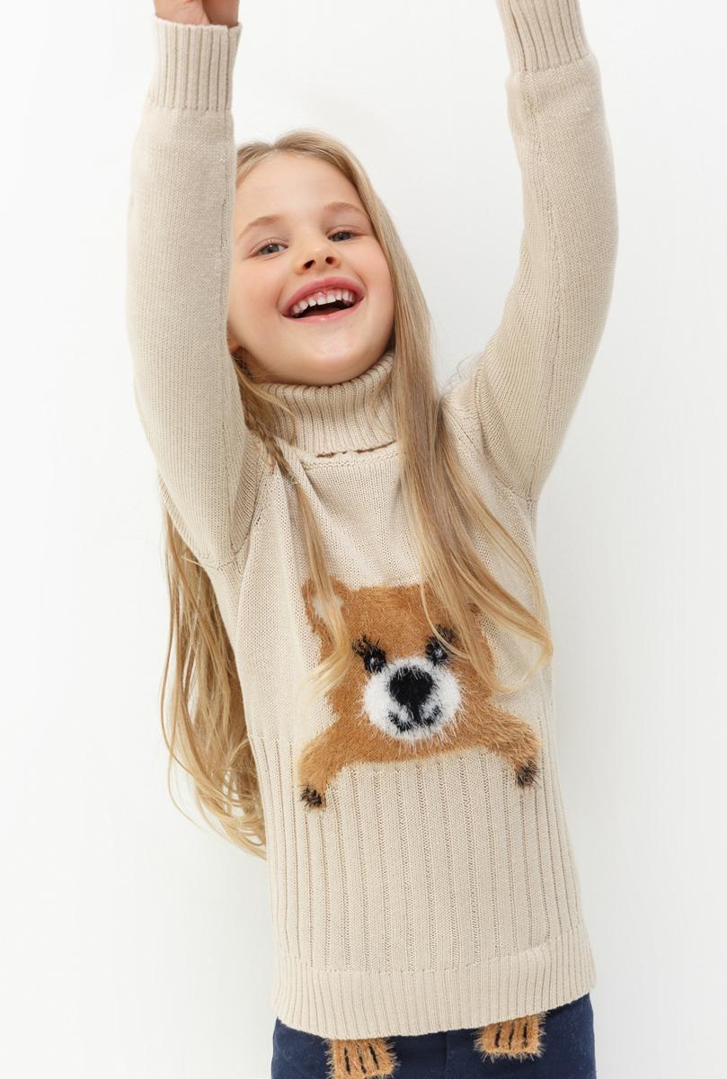 Свитер для девочки Acoola Norway, цвет: бежевый. 20220320026. Размер 11020220320026Свитер для девочки Acoola выполнен из качественного материала. Модель с воротником гольф и длинными рукавами.