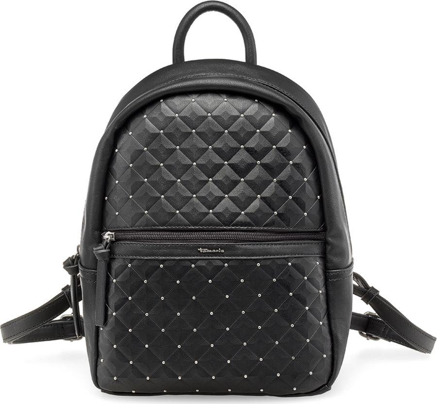 Сумка-рюкзак женская Tamaris, цвет: черный. 2253172-0012253172-001Стильная женская сумка-рюкзак Tamaris выполнена из искусственной кожи. Сумка-рюкзак застегивается на молнию и имеет одно вместительное отделение. На фронтальной стороне имеется карман на молнии. Лямки регулируются по длине. Имеется ручка для переноски.