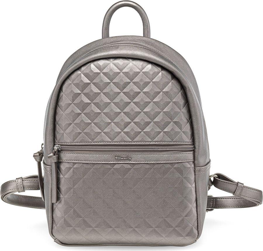 Сумка-рюкзак женская Tamaris, цвет: серый. 2253172-9152253172-915Стильная женская сумка-рюкзак Tamaris выполнена из искусственной кожи. Сумка-рюкзак застегивается на молнию и имеет одно вместительное отделение. На фронтальной стороне имеется карман на молнии. Лямки регулируются по длине. Имеется ручка для переноски.