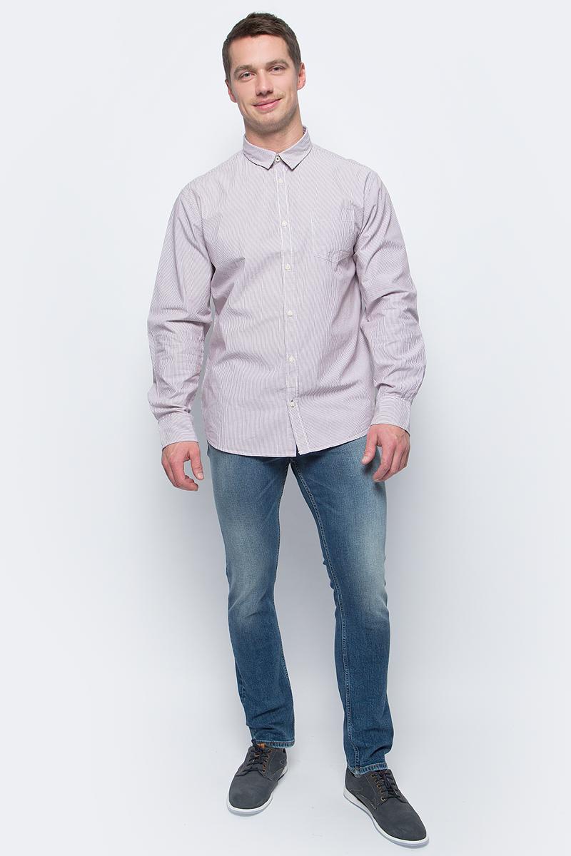Рубашка мужская Baon, цвет: белый, бордовый. B667533_White-Merlot Striped. Размер XXL (54) водолазка мужская baon цвет синий b727502 baltic blue melange размер xxl 54