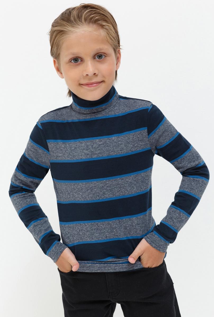 Водолазка для мальчика Acoola Nachos, цвет: серый, синий. 20110100092. Размер 15220110100092Водолазка для мальчика Acoola выполнена из хлопка и эластана. Модель с воротником гольф и длинными рукавами.