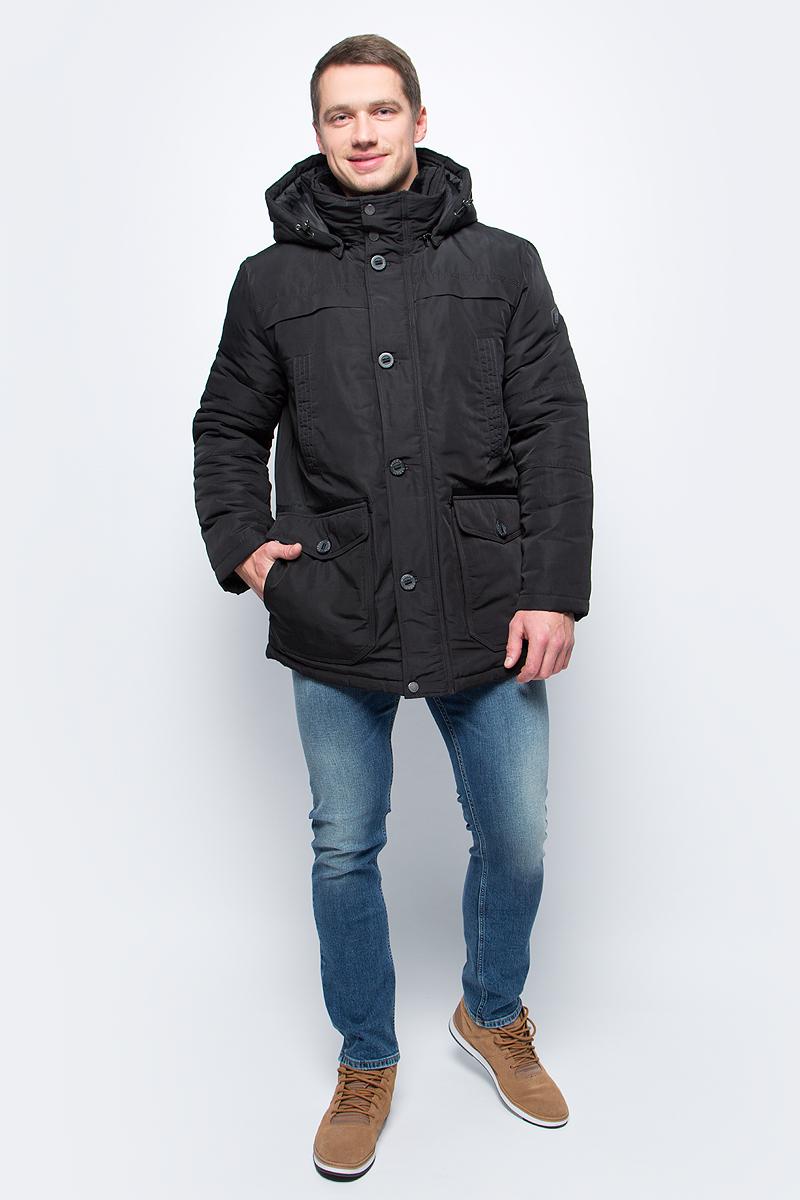 Куртка мужская Baon, цвет: черный. B537515_Black. Размер XXL (54)B537515_BlackСтильная мужская куртка Baon изготовлена из высококачественного полиэстера. В качестве утеплителя используется полиэстер. Модель со съемным капюшоном застегивается на застежку-молнию и дополнительно на ветрозащитный клапан с пуговицами. Капюшон, пристегивающийся с помощью молнии, регулируется с помощью эластичного шнурка со стопперами. Спереди расположены два нагрудных, два накладных и два боковых кармана.