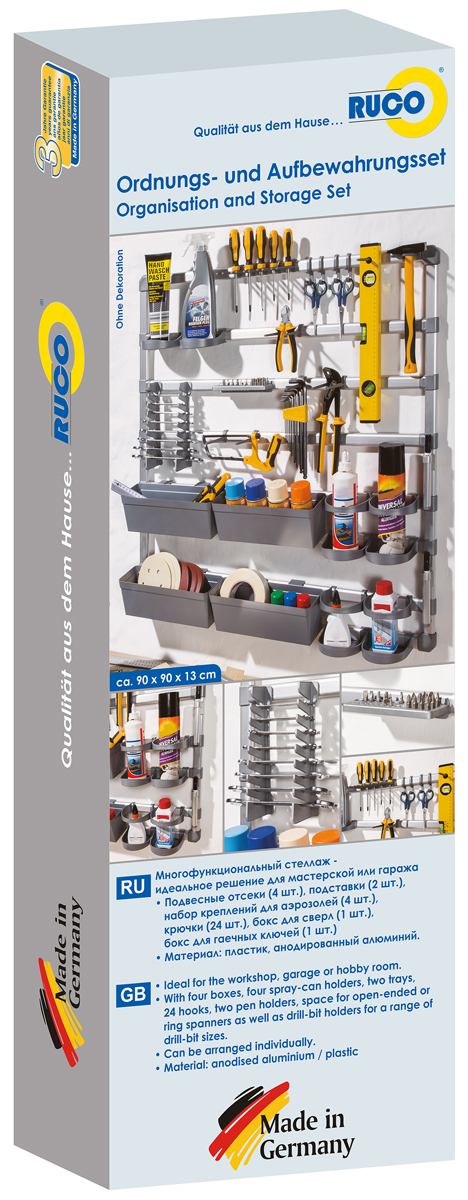 Стеллаж Rexxon, многофункциональный, цвет: серый металлик, 90 x 90 x 10 см8-1-1-1-0Идеально подходит для мастерской, гаража или хобби.Эта практичный стеллаж для инструментов, аксессуаров и прочего инвентаря. Обеспечивает порядок и сохраняет пространство. Комплектация: 4 ящика, 4 держателя для аэрозолей, 2 поддона, 24 крючка, 2 держателя.1 держатель для ключей. 1 держатель для битков и сверел.Стабильная конструкция из алюминия и пластика.Размеры: 90 x 90 x 10 см.