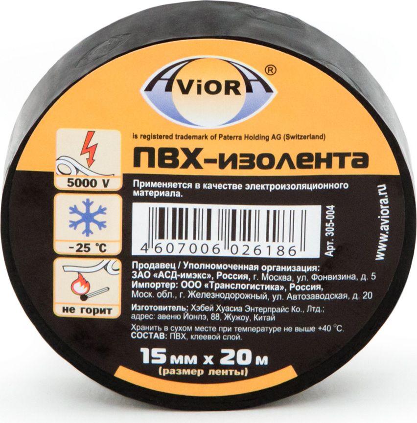 Изолента Aviora, цвет: черный, 15 мм х 20 м305-004Применяется в быту и на производстве в качестве изоляционного материала при электротехнических работах.Вещества, входящие в состав основы изоленты и клеевого слоя, препятствуют возгоранию и плавлению. Лента имеет отличные характеристики по растяжению, что на прямую влияет на экономию ленты при использовании.