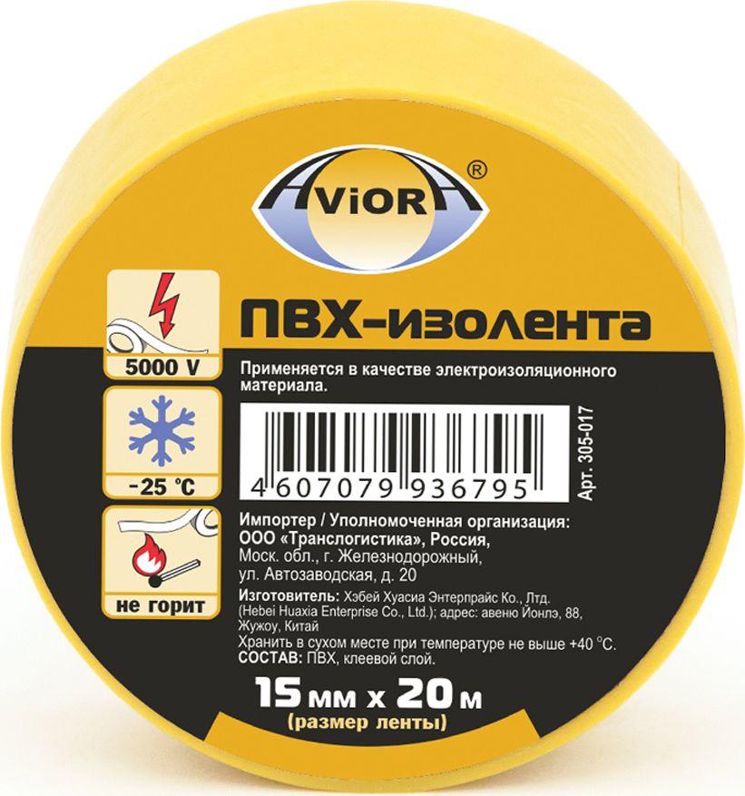 Изолента Aviora, цвет: желтый, 15 мм х 20 м305-017Применяется в быту и на производстве в качестве изоляционного материала при электротехнических работах.Вещества, входящие в состав основы изоленты и клеевого слоя, препятствуют возгоранию и плавлению. Лента имеет отличные характеристики по растяжению, что на прямую влияет на экономию ленты при использовании.