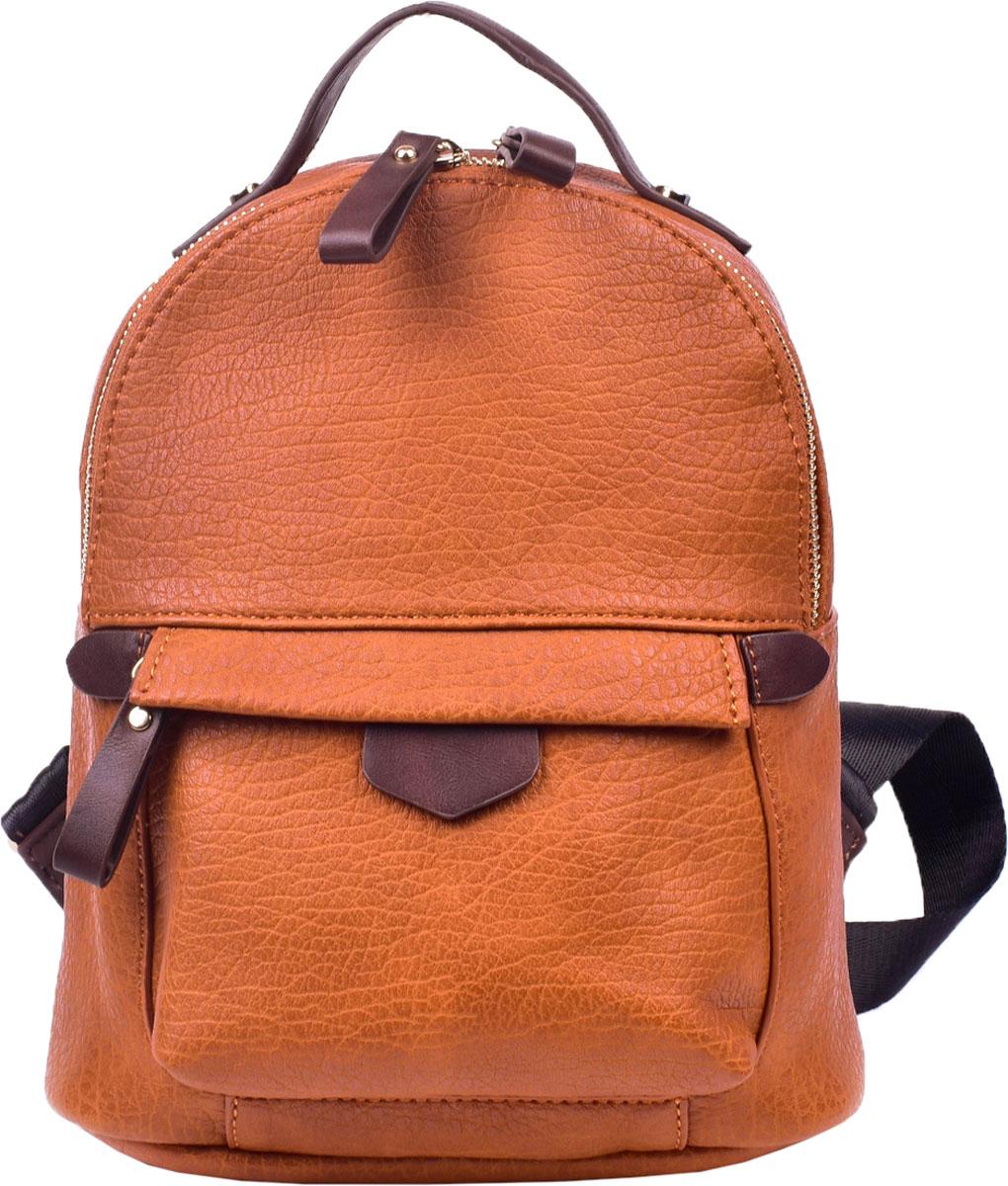 Сумка-рюкзак женская Renee Kleri, цвет: рыжий . RK419-05RK419-05Стильная женская сумка-рюкзак Renee Kler выполнена из искусственной кожи. Сумка-рюкзак застегивается на молнию и имеет одно вместительное отделение. Внутри расположены карман на молнии и открытый кармашек. На фронтальной стороне имеется объемный карман на молнии, на тыльной – карман на молнии. Лямки регулируются по длине. Имеется ручка для переноски.