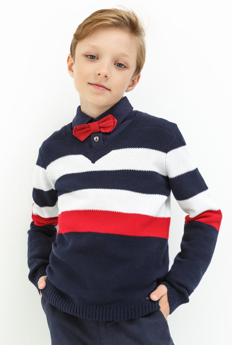 Джемпер для мальчика Acoola Vangog, цвет: темно-синий. 20110310045. Размер 15220110310045Пуловер для мальчика Acoola выполнен из натурального хлопка. Модель с V-образным вырезом горловины и длинными рукавами.