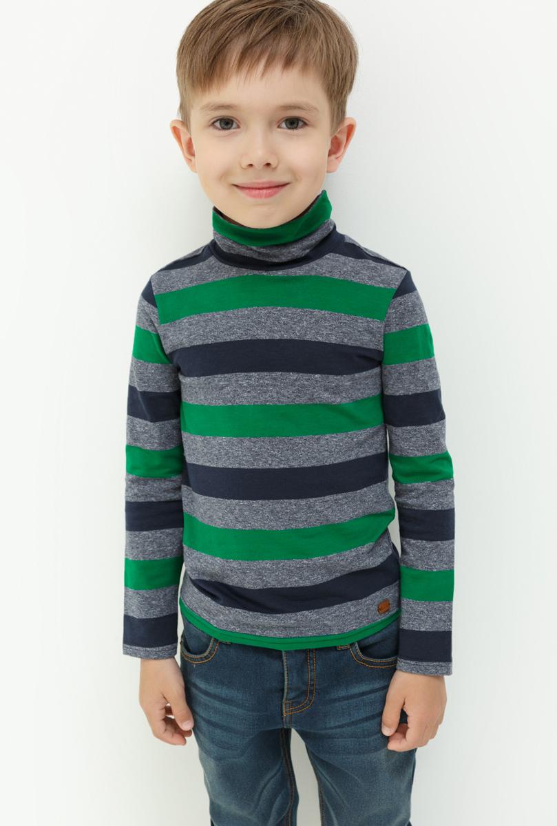 Водолазка для мальчика Acoola Nachos, цвет: зеленый, серый, синий. 20120100094. Размер 11620120100094Водолазка для мальчика Acoola выполнена из хлопка и эластана. Модель с воротником гольф и длинными рукавами.