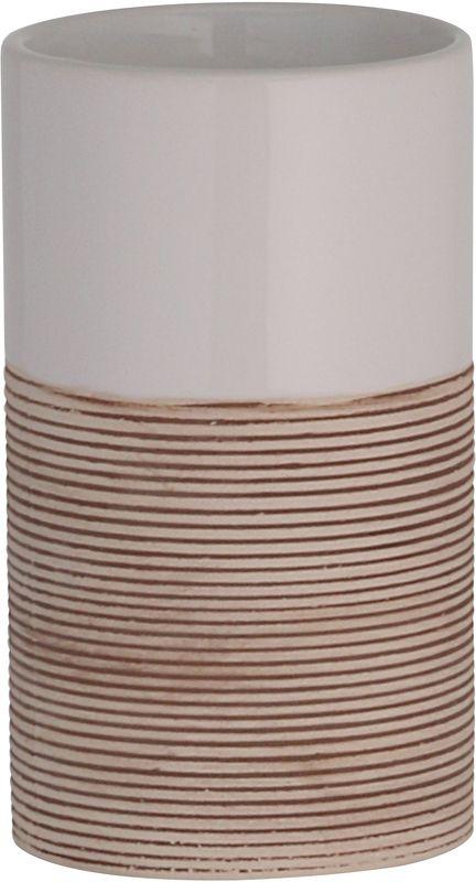 Стакан для ванной комнаты Axentia Rimini126711Стакан Axentia Rimini для ванной комнаты из белой керамики и рифленной бежевой нижней частью.Размер Д7,5 см., высота 12,5 см., Стикер