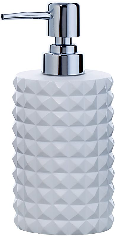 Диспенсер для мыла Axentia Vegas126773Диспенсер для мыла Axentia Vegas- незаменимый аксессуар для тех, кто ценит чистоту своей раковины и экономный расход мыла. Изделие имеет емкость из полирезина. Металлический дозатор позволяет легко выдавливать нужное количество жидкого мыла. Универсальный белый цвет в сочетании современной формой бриллиантов придают изделию особенную игру теней, блеска и шика. Размеры: 7 х 7 х 18 смОбъем: 300 мл.