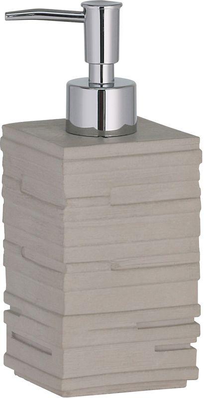 Дозатор Axentia San Diego126777Дозатор Axentia San Diego квадратный для жидкого мыла из полирезина имитация бежевой рельефной стены. Насос хромированный.Размер 7 х 7 х 18 см., Объем 250 мл., Стикер