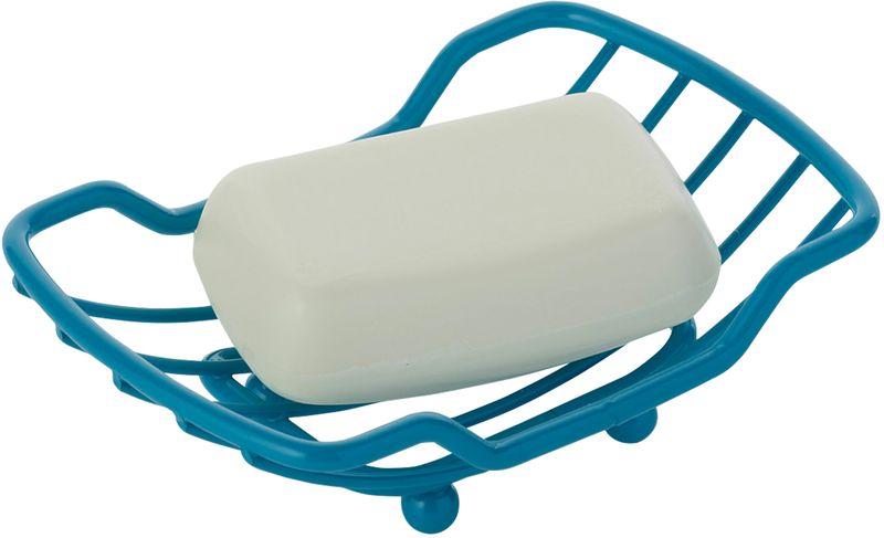Мыльница Axentia Marbella, цвет: бирюзовый126845Мыльница Axentia Marbella - незаменимый аксессуар для ванной комнаты. Изделие выполено из толстой металической проволоки покрытой высококачественной порошковой краской. Мыльница имеет четыре ножки, не имеет острых углов, безопасна и удобна в использовании. Изделие устойчиво к коррозии. Оптимальный размер позволяет разместить самые распространенные формы мыла. Размеры: 14 x 9 x 4 см.