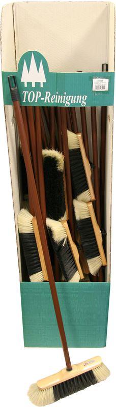 Щетка для пола Axentia270536Щетка для пола Axentia предназначена для уборки в доме и на улице. Щетина, изготовленная из конского волоса, расположена под углом, позволяющим захватить максимальную поверхность. Ручка выполнена из дерева. Пластиковый верх имеет отверстие для подвешивания. Ширина рабочей части: 28 смДлина ручки: 120 см.