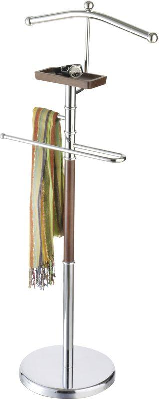 Вешалка для костюма Axentia Godiva, напольная, с полкой для телефона, цвет: серебристый, коричневый282181Напольная вешалка для костюма Axentia Godiva, с полкой для телефона, выполнена из стали с деревянной отделкой. Отлично впишется в любой интерьер.Высота:110 см.