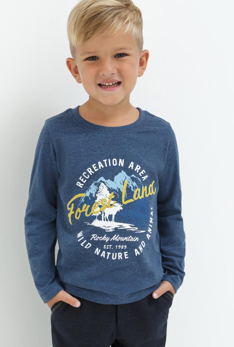 Лонгслив для мальчика Acoola Kieron, цвет: темно-синий. 20120100100. Размер 10420120100100Лонгслив для мальчика Acoola выполнен из натурального хлопка. Модель с круглым вырезом горловины и длинными рукавами.