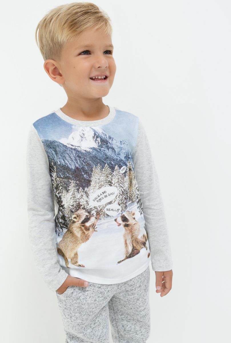 Лонгслив для мальчика Acoola Fion, цвет: светло-серый. 20120100101. Размер 9820120100101Лонгслив для мальчика Acoola выполнен из натурального хлопка. Модель с круглым вырезом горловины и длинными рукавами.