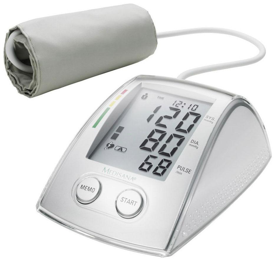 Medisana Плечевой тонометр MTX51080- Точный и надежный плечевой тонометр для измерения артериального давления и пульса- Режим 3 МАМ, заключающийся в 3-х последовательных измерениях и вычислении среднего значения артериального давления- Крупный дисплей, отображающий результаты измерений, дату и время- 2 блока памяти по 99 ячеек, рассчитанные на 2-х разных пользователей- Функция выявления аритмии- Установка для каждого пользователя 3-х сигналов в различной время, напоминающих о какой-либо процедуре- Цветная шкала ВОЗ поможет оценить результаты измерений