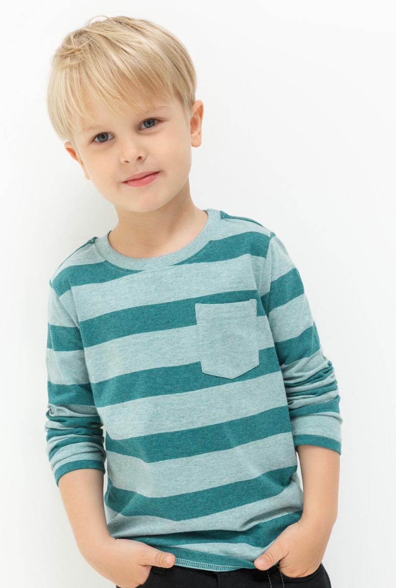Лонгслив для мальчика Acoola Dima, цвет: бирюзовый. 20120100108. Размер 11020120100108Лонгслив для мальчика Acoola выполнен из натурального хлопка. Модель с круглым вырезом горловины и длинными рукавами.