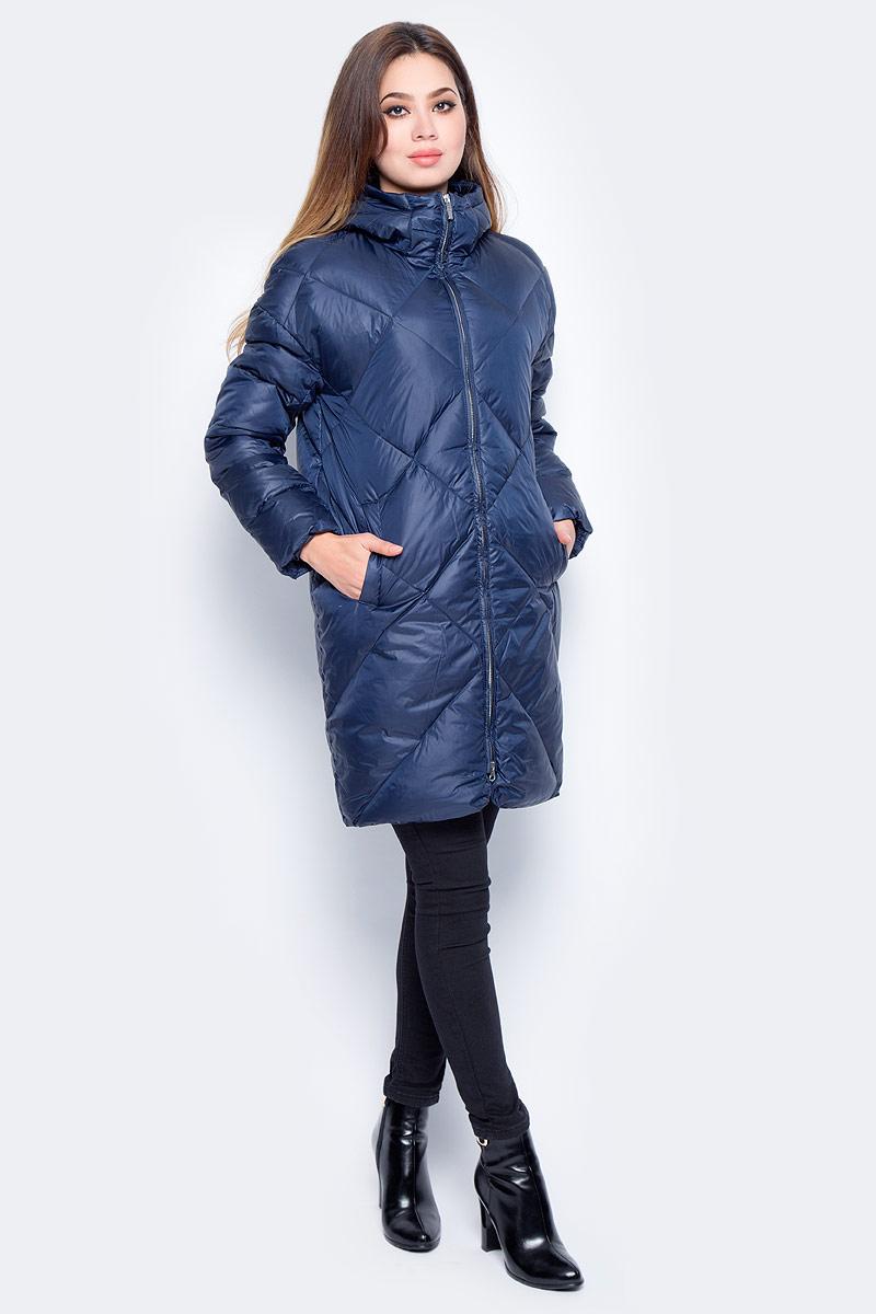 Пуховик женский Baon, цвет: синий. B007571_Dark Navy. Размер S (44) пуховик женский baon цвет синий b007536