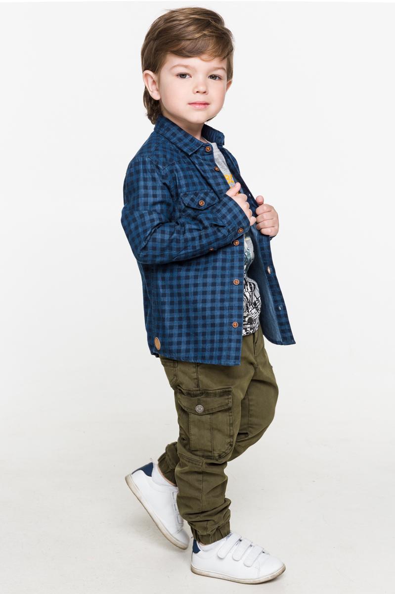 Рубашка для мальчика Acoola Neptune, цвет: синий. 20120280034. Размер 11620120280034Рубашка для мальчика Acoola выполнена из натурального хлопка. Модель с отложным воротником и длинными рукавами застегивается на пуговицы.