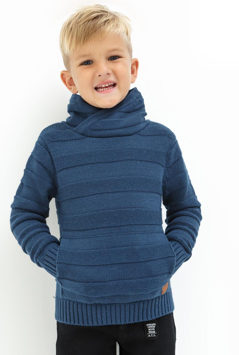 Свитер для мальчика Acoola Klimt, цвет: темно-синий. 20120310049. Размер 10420120310049Свитер для мальчика Acoola Klimt выполнен из качественного материала. Модель с воротником гольф и длинными рукавами.