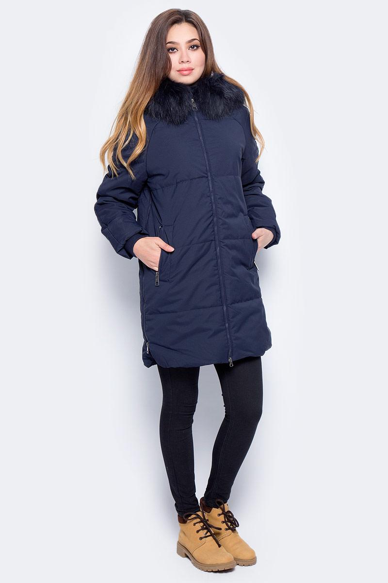 Куртка женская Baon, цвет: синий. B037516_Dark Navy. Размер S (44)B037516_Dark NavyУтепленная женская куртка Baon выполнена из непромокаемого полиэстера. Модель с капюшоном застегивается на застежку-молнию. Капюшон оформлен натуральным мехом енота. Изделие дополнено двумя втачными карманами на кнопках. По бокам предусмотрены разрезы также на застежках-молниях.