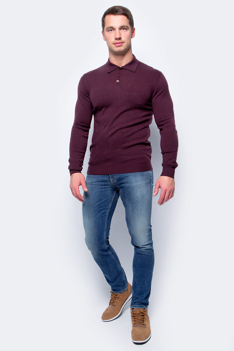 Поло мужское Baon, цвет: бордовый. B637515_Merlot. Размер XL (52) поло мужское baon цвет серый b707010 размер xl 52