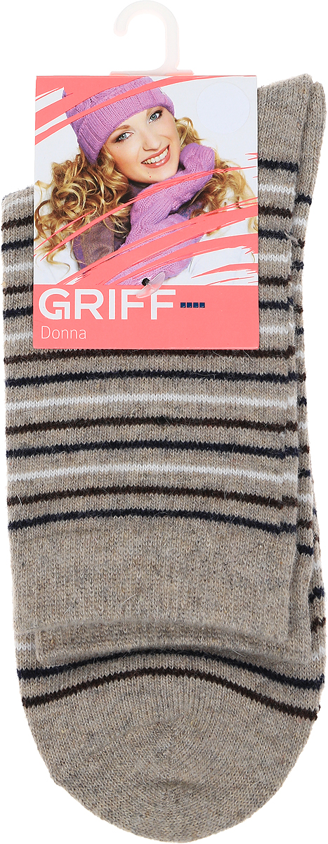 Носки женские Griff Полоски, цвет: бежевый. D9A3. Размер 39/41 griff s1 3w