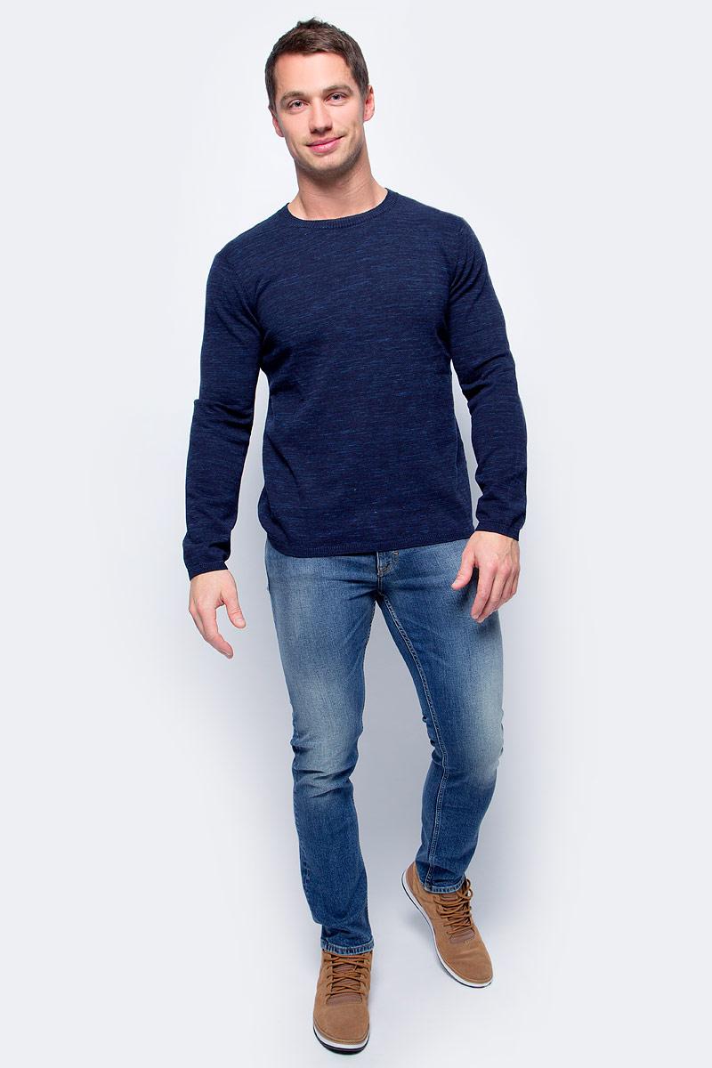 Джемпер мужской Baon, цвет: синий. B637560_Deep Navy Melange. Размер XXL (54) водолазка мужская baon цвет синий b727502 baltic blue melange размер xxl 54