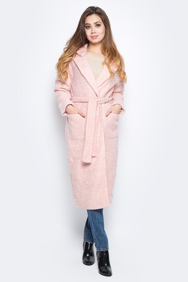 Пальто женское Baon, цвет: розовый. B067508_Dusty Flamingo. Размер M (46)B067508_Dusty FlamingoСтильное женское пальто Baon выполнено из полушерстяного буклированного материала и дополнено подкладкой из полиэстера. Модель с лацканами застегивается на два ряда кнопок и дополнена поясом. По бокам расположено два кармана.