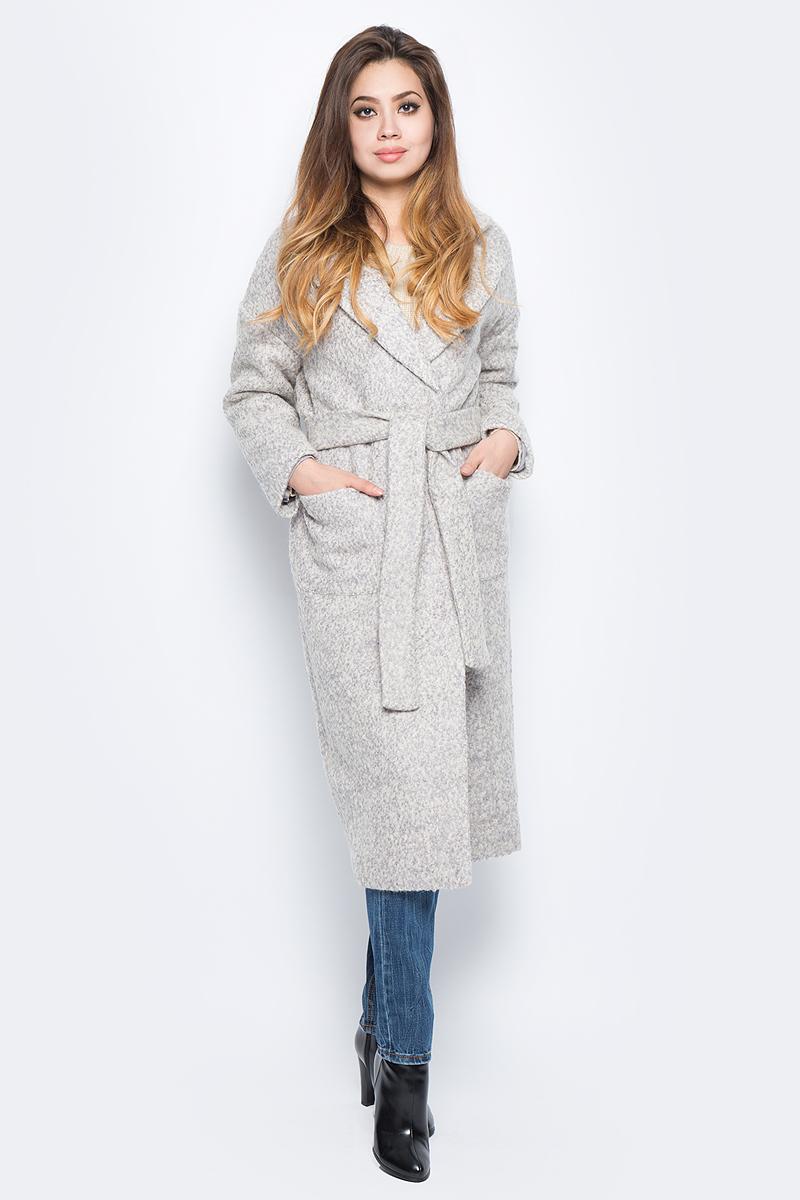 Пальто женское Baon, цвет: серый. B067508_Light Grey. Размер L (48)B067508_Light GreyСтильное женское пальто Baon выполнено из полушерстяного буклированного материала и дополнено подкладкой из полиэстера. Модель с лацканами застегивается на два ряда кнопок и дополнена поясом. По бокам расположено два кармана.
