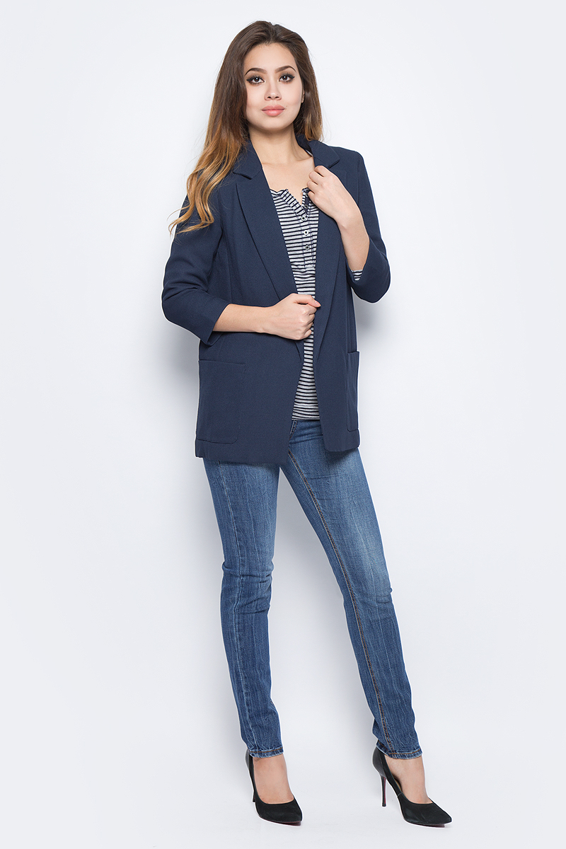 Жакет женский Baon, цвет: синий. B127507_Dark Navy. Размер XL (50)B127507_Dark Navy