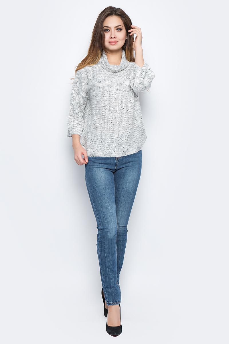 Джемпер женский Baon, цвет: серый. B137549_Silver Melange. Размер XXL (52)B137549_Silver Melange