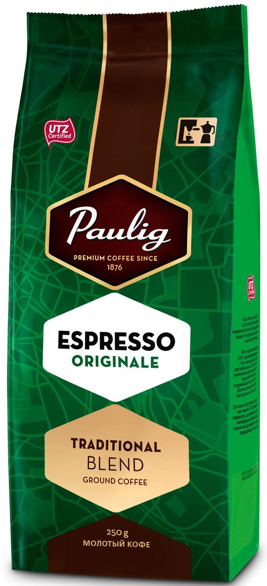 Paulig Espresso Originale кофе молотый, 250 г16494Молотый кофе Paulig Espresso Originale - это высококачественный кофе итальянского типа с нежным и в тоже время крепким вкусом для приготовления эспрессо. Изготовлен из сладких бразильских и отборных центрально американских сортов. Этот традиционный эспрессо, обжаренный в северо-итальянском стиле, дополняет щепотка робусты, придающая ему насыщенность и интенсивность.