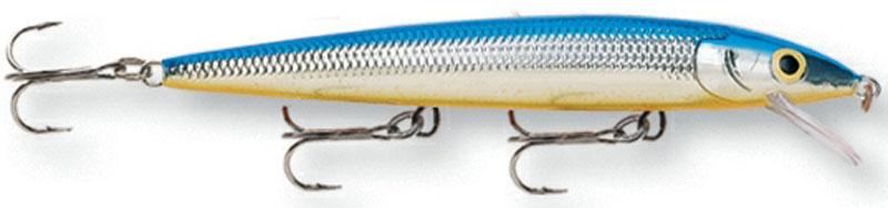 Воблер Rapala, мелко погружающийся, длина 10 см, вес 10 г. HJ10-SBHJ10-SBБлагодаря своим неподражаемым движениям и нейтральной плавучести, этот воблер является несомненным шедевром. При движении он издает звуковые колебания, чем способен привлечь даже неактивную рыбу. На паузе эта приманка стремится оставаться в толще воды, соблазняя хищную рыбу.Какая приманка для спиннинга лучше. Статья OZON Гид
