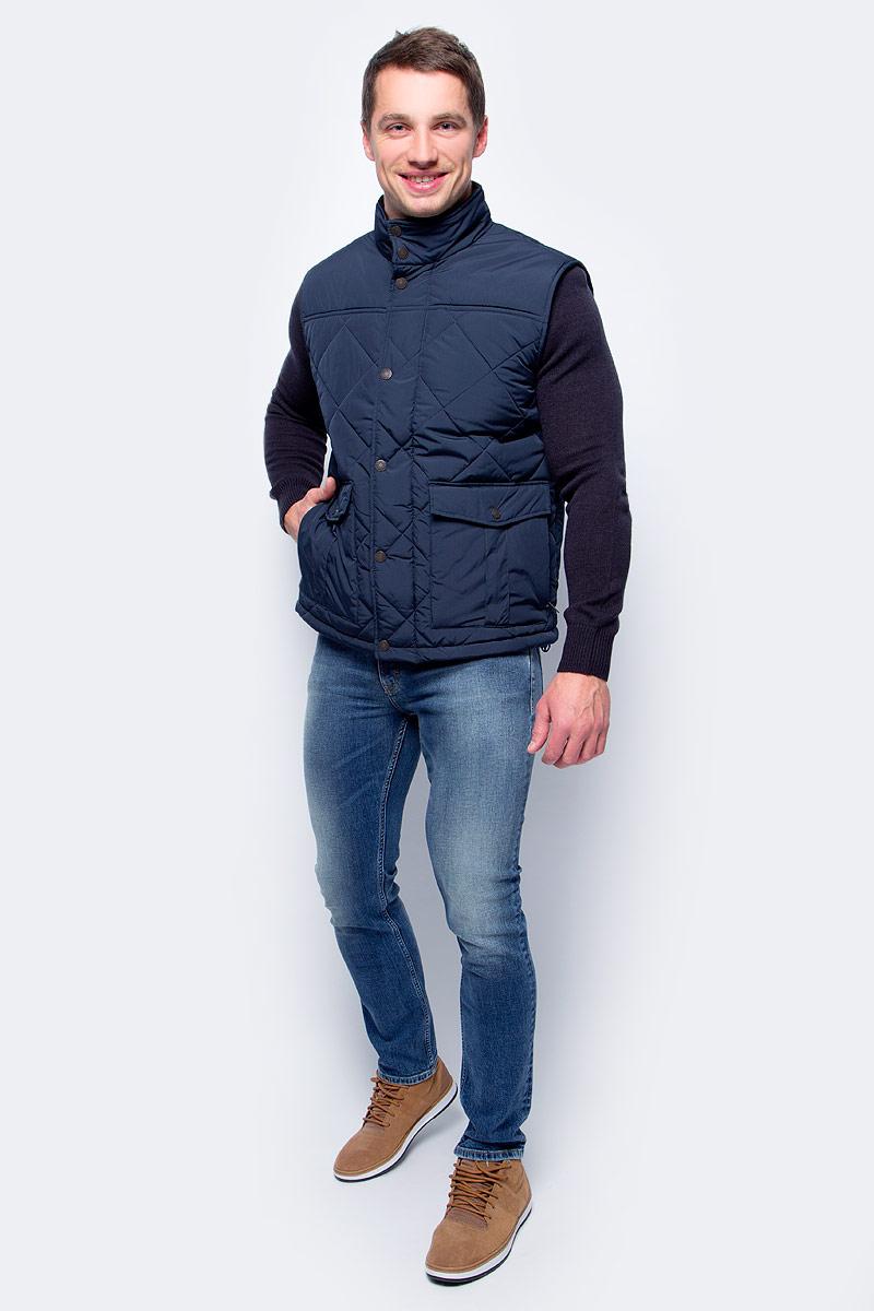 Жилет мужской Baon, цвет: синий. B657504_Deep Navy. Размер XL (52) жилет мужской mustang light weight vest цвет темно синий 3370 6731 554 размер xl 52