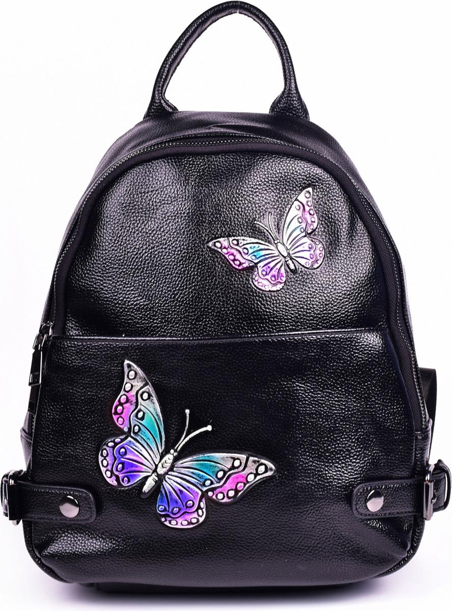 Сумка-рюкзак женская Baggini, цвет: черный. 28181-1/10 ретро рюкзак мужчина пар рюкзак брезент сумка рюкзак для подростков туризм спортивная сумка кемпинг