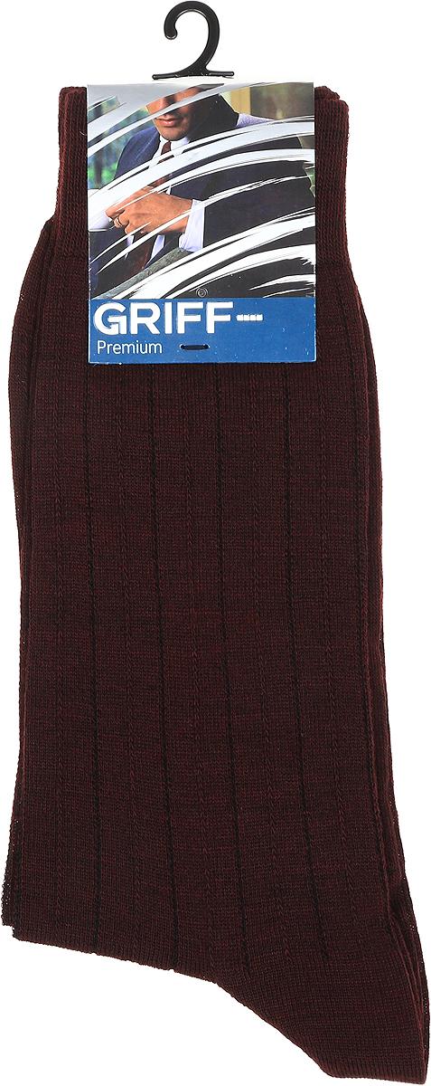 Носки мужские Griff Premium, цвет: бордо. W1. Размер 39/41W1Зимние эластичные мужские носки линии Premium от Griff выполнены из тонкой шерсти, вывязанные техникой платировки. Носки с широкой резинкой. Усиленные пятка и мысок.