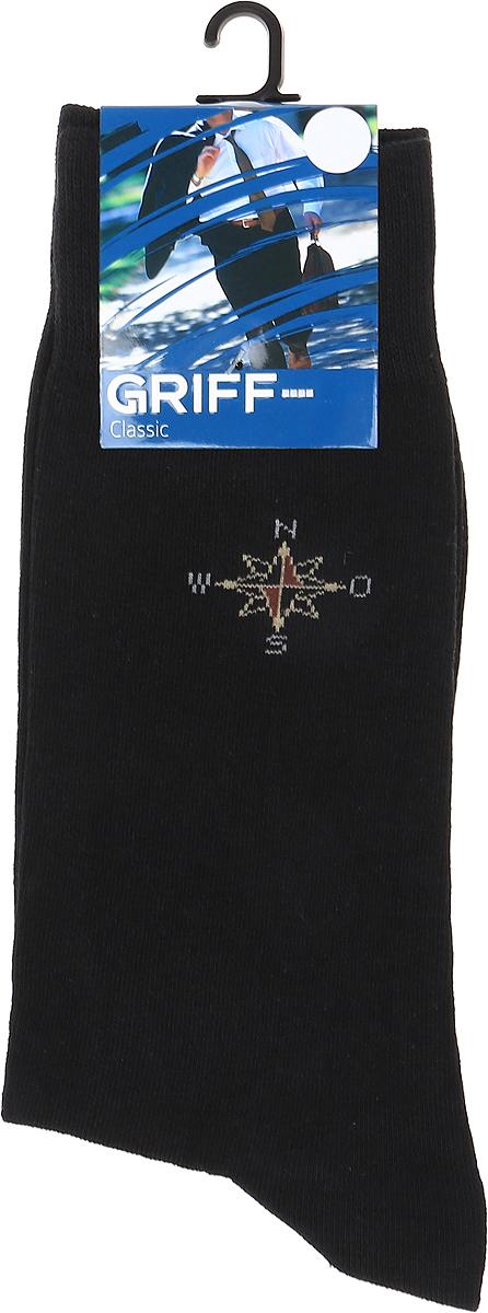 Носки мужские Griff Classic, цвет: черный. Var.3. Размер 45/47Var.3Классические зимние мужские носки от Griff выполнены из хлопка с добавлением эластана. Носки с рисунком на паголенке с широкой комфортной резинкой.