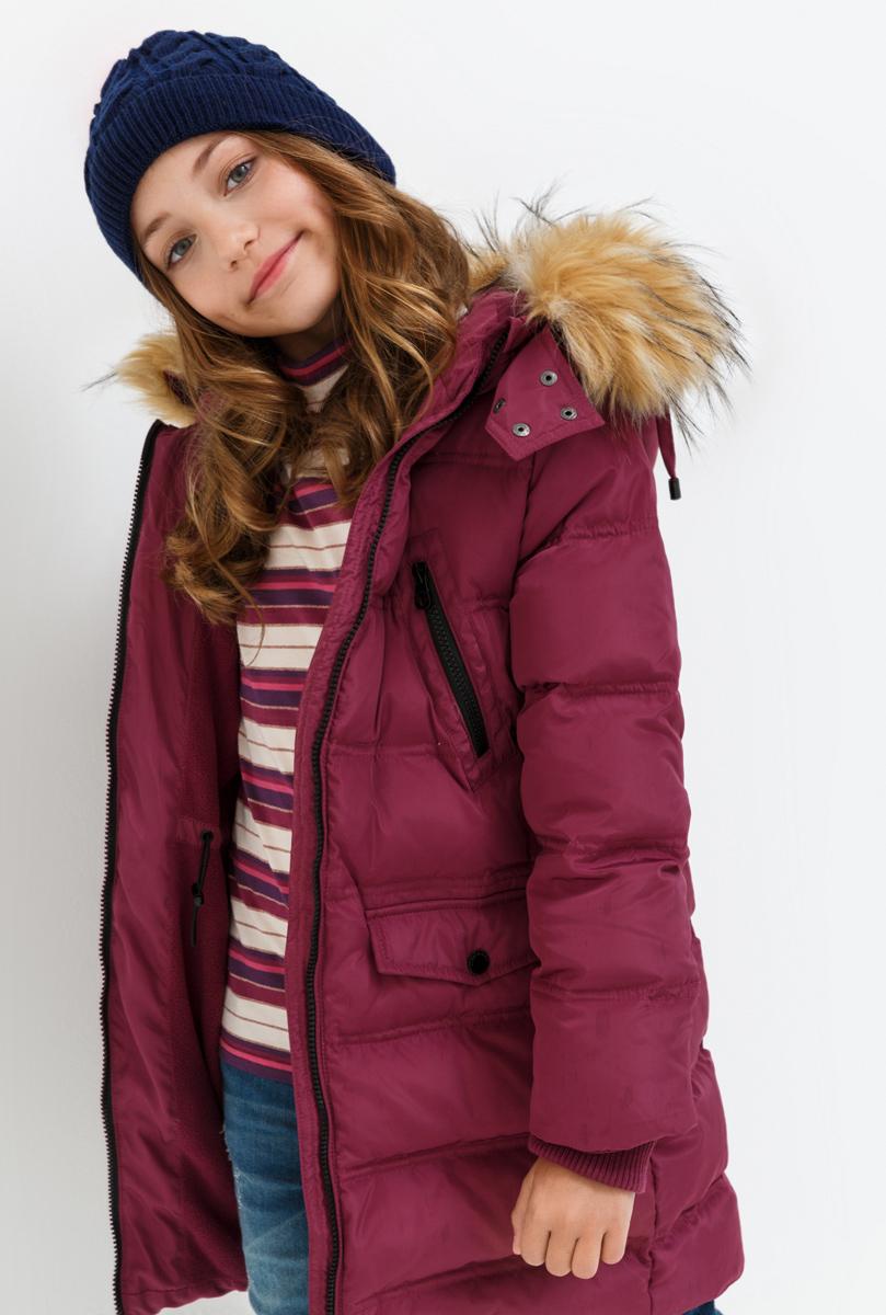 Пальто для девочки Acoola Octans, цвет: бордовый. 20210610021. Размер 152 кардиган acoola acoola ac008ebnmf36