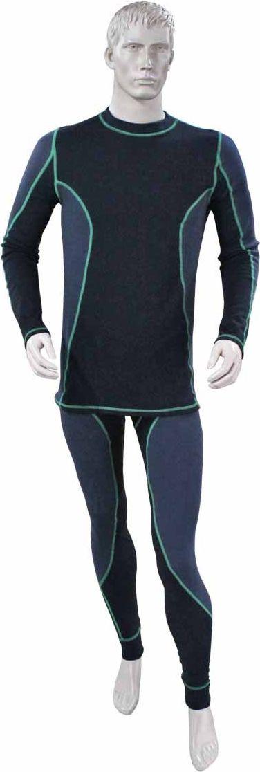 Комплект термобелья Woodland Tex Thermo plus Sport, цвет: графит. 63503. Размер M (44/46)Tex Thermo plus SportКомплект термобелья Woodland, состоящий из кофты и брюк, идеально подойдет для вас в холодную погоду. Изготовленный из хлопка с добавлением полиэстера и эластана, он мягкий и приятный на ощупь, отлично отводит влагу и обеспечивает хорошую терморегуляцию, защищая как от перегрева, так и от охлаждения. Уникальная технология шитья без внутренних швов обеспечит прекрасное теплосбережение и комфорт при длительном ношении. Кофта с длинными рукавами-реглан, удлиненной спинкой и воротником-стойкой оформлена контрастной прострочкой. На рукавах предусмотрены широкие эластичные манжеты. Брюки имеют на поясе широкую эластичную резинку. Снизу они дополнены эластичными трикотажными манжетами. Модель также оформлена контрастной прострочкой. Модель комбинированная, со вставками на плечах и на боках под рукавами внутри имеет начес. Комплект термобелья станет отличным дополнением к вашему гардеробу. Он может активно применятся на рыбалке, охоте, в спорте, а также повседневном ношении. Показатели температуры использования: при низкой физической активности до -15°C; при высокой физической активности до -25°C.