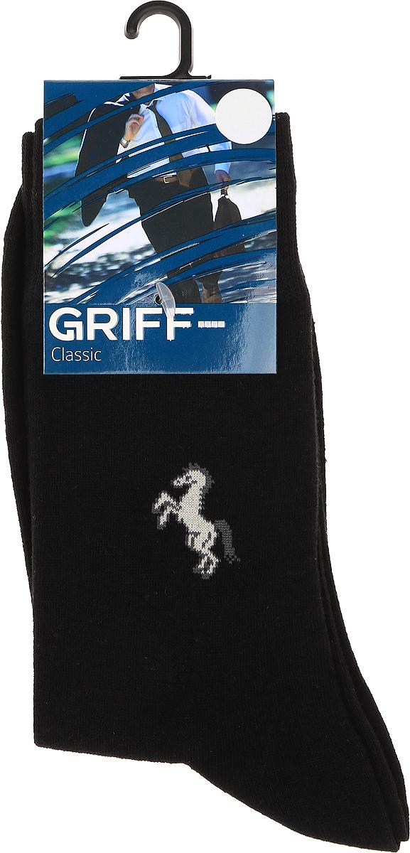 Носки мужские Griff Classic, цвет: черный. B1. Размер 36/38B1Классические всесезонные эластичные мужские носки изготовлены из качественного материала на основе хлопка. Носки выполнены с рисунком на паголенке с широкой комфортной резинкой.