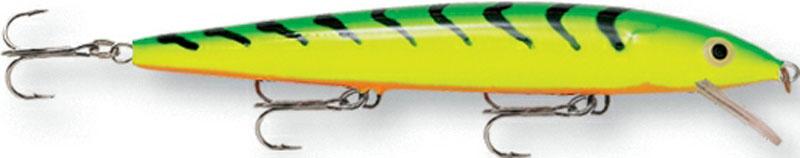 Воблер Rapala, мелко погружающийся, длина 14 см, вес 18 г. HJ14-FTHJ14-FTБлагодаря своим неподражаемым движениям и нейтральной плавучести, этот воблер является несомненным шедевром. При движении он издает звуковые колебания, чем способен привлечь даже неактивную рыбу. На паузе эта приманка стремится оставаться в толще воды, соблазняя хищную рыбу.Какая приманка для спиннинга лучше. Статья OZON Гид