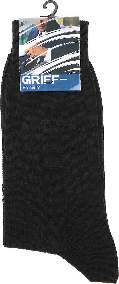 Носки мужские Griff Premium, цвет: черно-синий. W1. Размер 42/44W1Зимние эластичные мужские носки линии Premium от Griff выполнены из тонкой шерсти, вывязанные техникой платировки. Носки с широкой резинкой. Усиленные пятка и мысок.