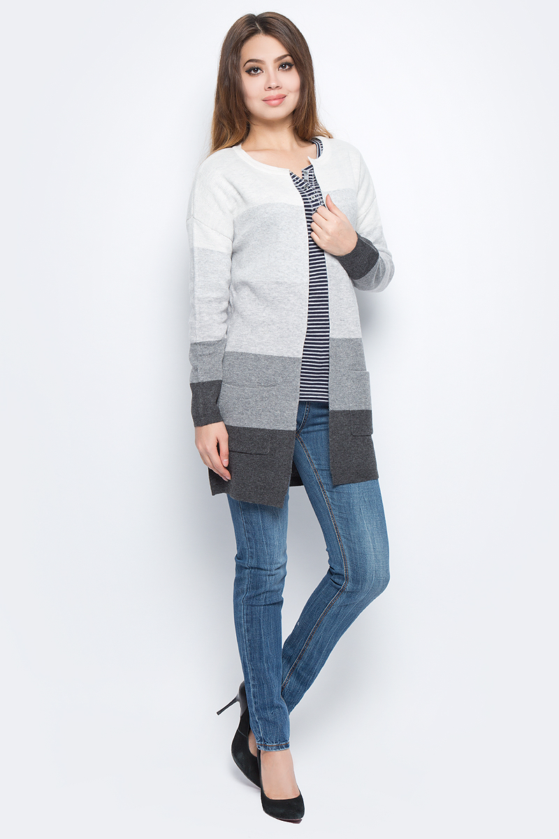 Кардиган женский Baon, цвет: серый. B147517_Zircon Melange. Размер L (48) женский кардиган 013a56
